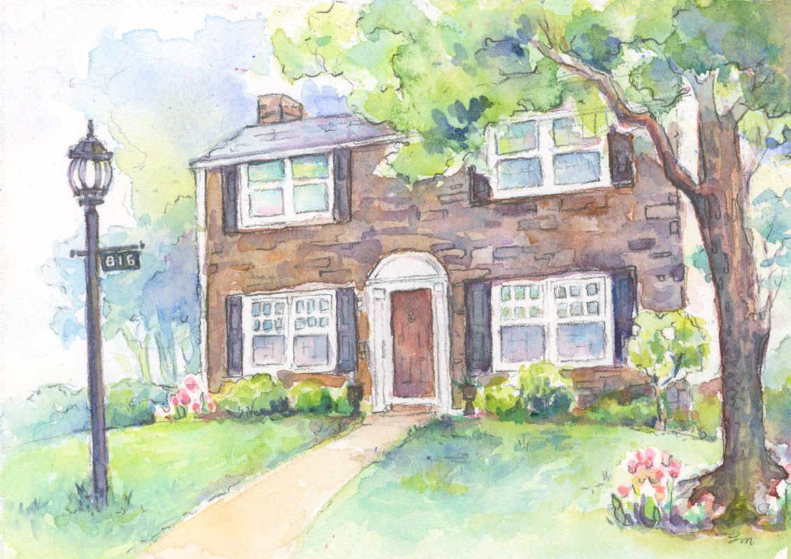 Fresh Art Custom Watercolor House Portrait Watercolor