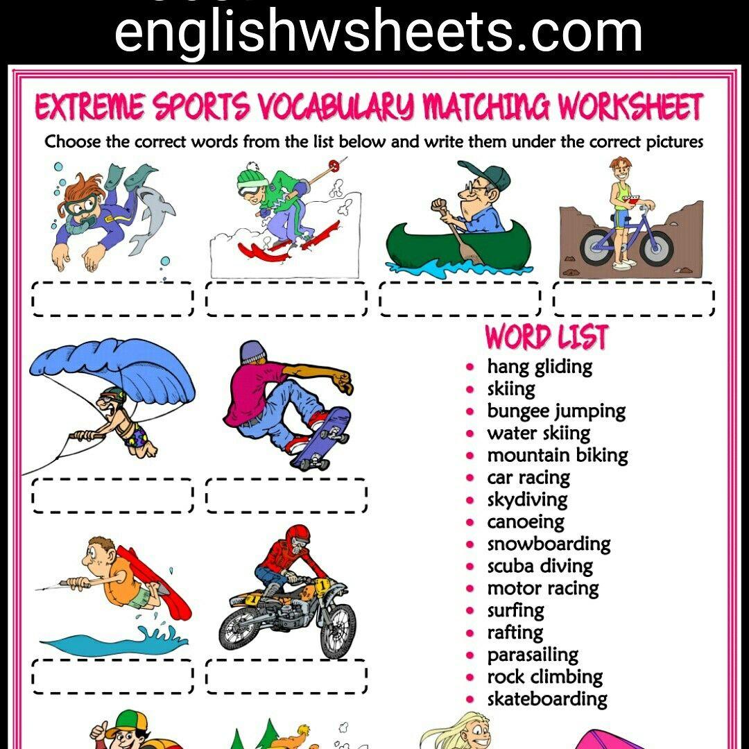 extreme sports esl printable vocabulary matching exercise worksheet for kids extreme sports. Black Bedroom Furniture Sets. Home Design Ideas