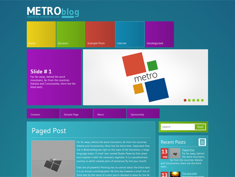 MetroBlog is stylish and clean creative theme for WordPress blog ...