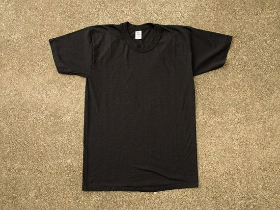 2b23e1dd Vintage Black T-Shirt M - Tee-Swing - Single Stitch - 50/50 Cotton Polyester  - Blank Blank T-Shirt M - Plain Black T-Shirt M - 80s Shirt Med
