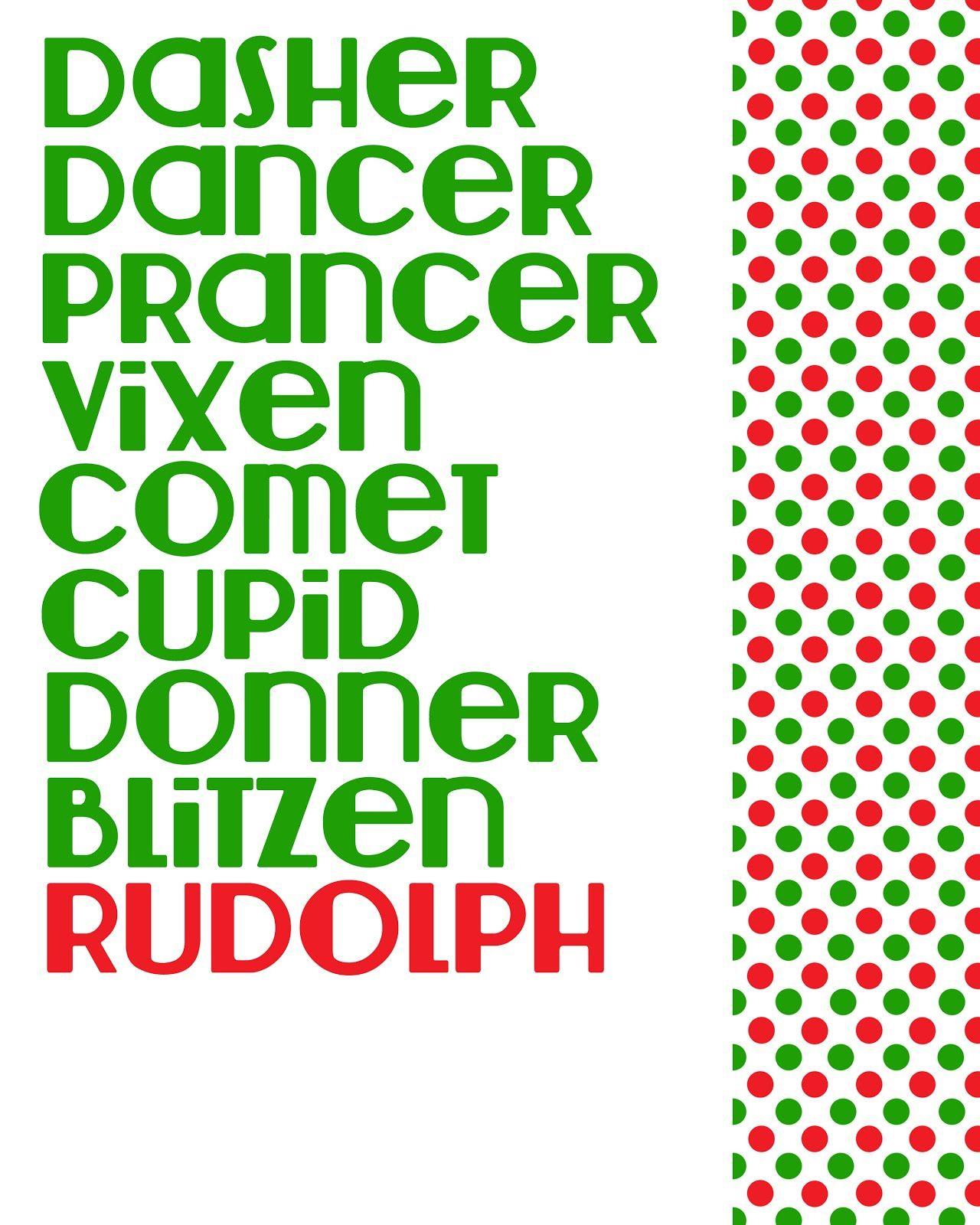 Reindeer Names Printable