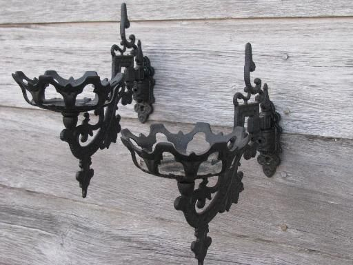 Ornate Oil Lamp Holder Wall Brackets Vintage Cast Metal Marked Emig Oil Lamps Outside Lighting Ideas Lamp Holder