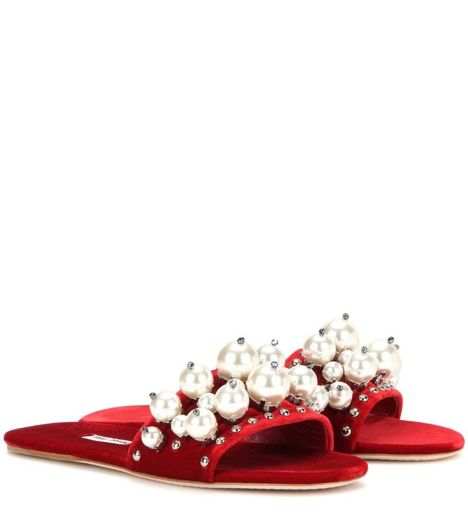 Miu Miu Embellished velvet slip-on sandals F8fwxd