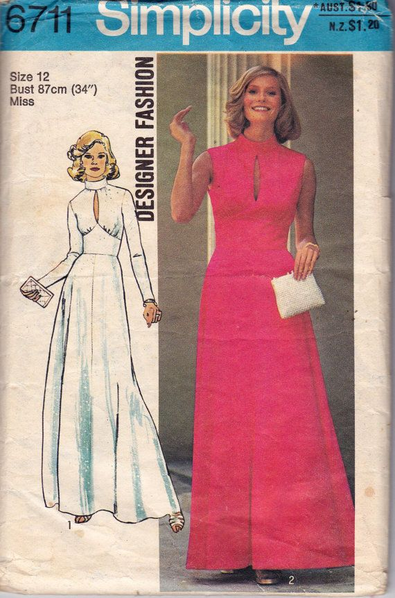 70s Vintage Sewing Pattern Boho Midriff Dress Bust 34 Simplicity 6711