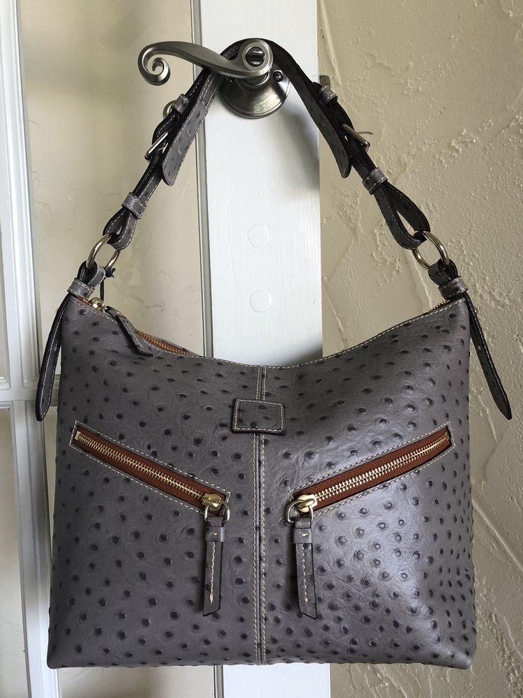 Dooney Bourke Ostrich Mary Hobo Bag Gray Ebay
