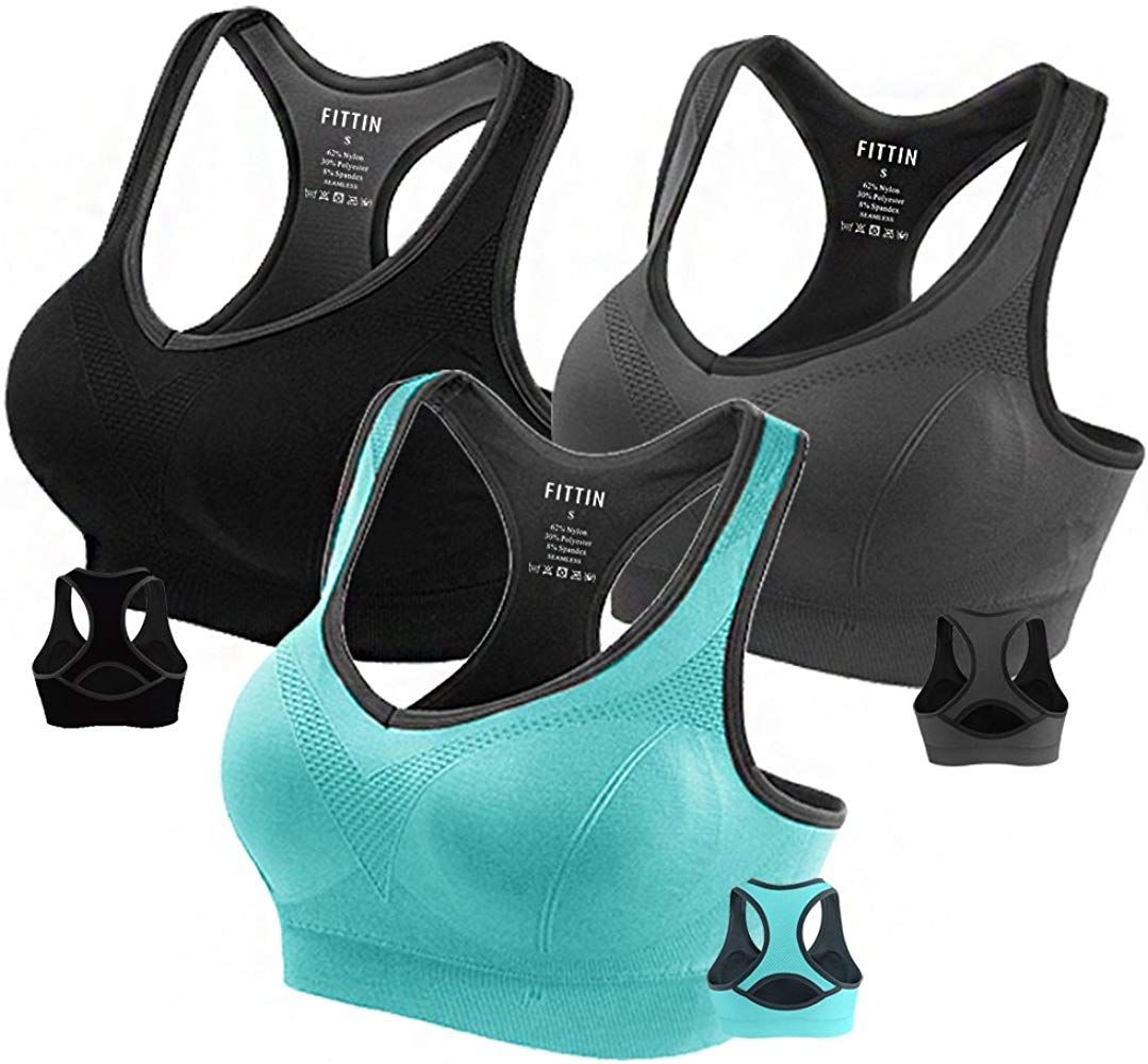 Fittin Womens Padded Sports Bras Wire Free with Removable