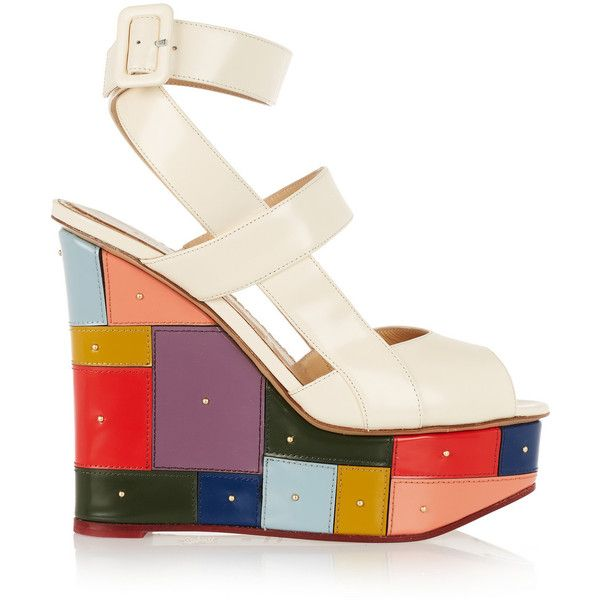 Charlotte Olympia Mosaic glossed-leather wedge sandals (€615) ❤ liked on Polyvore featuring shoes, sandals, heels, wedges, white, multi color wedge sandals, platform wedge sandals, strappy heel sandals, leather sandals and strappy wedge sandals