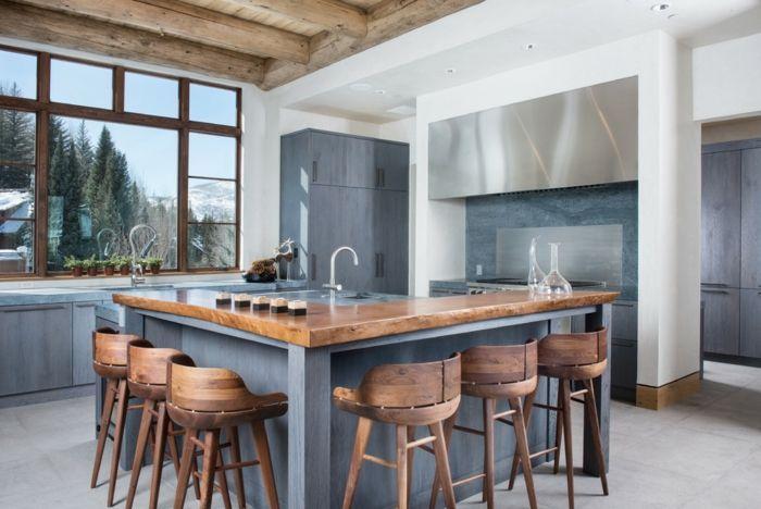cuisine rustique moderne meubles bois bleu gris chaises modernes