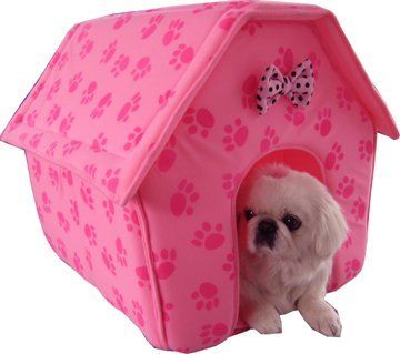 New Pink Paw Prints Collapsible Pet Dog Puppy Cat Kitten Bed Shelter House -Medium by masterpet, http://www.amazon.com/dp/B001GPZ3MI/ref=cm_sw_r_pi_dp_xVL6qb1H2Q0VW