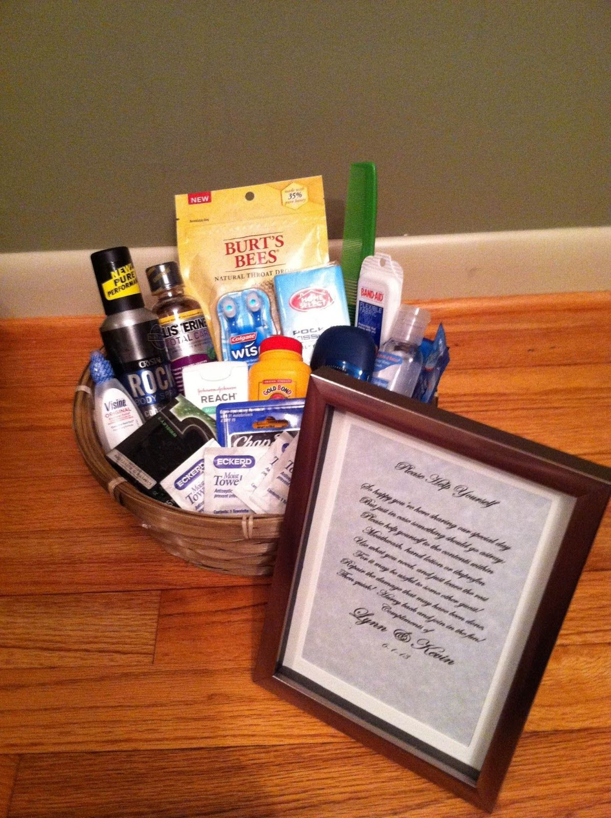 338453d7f Wedding Bathroom Basket...good idea to put some essentials in there ...