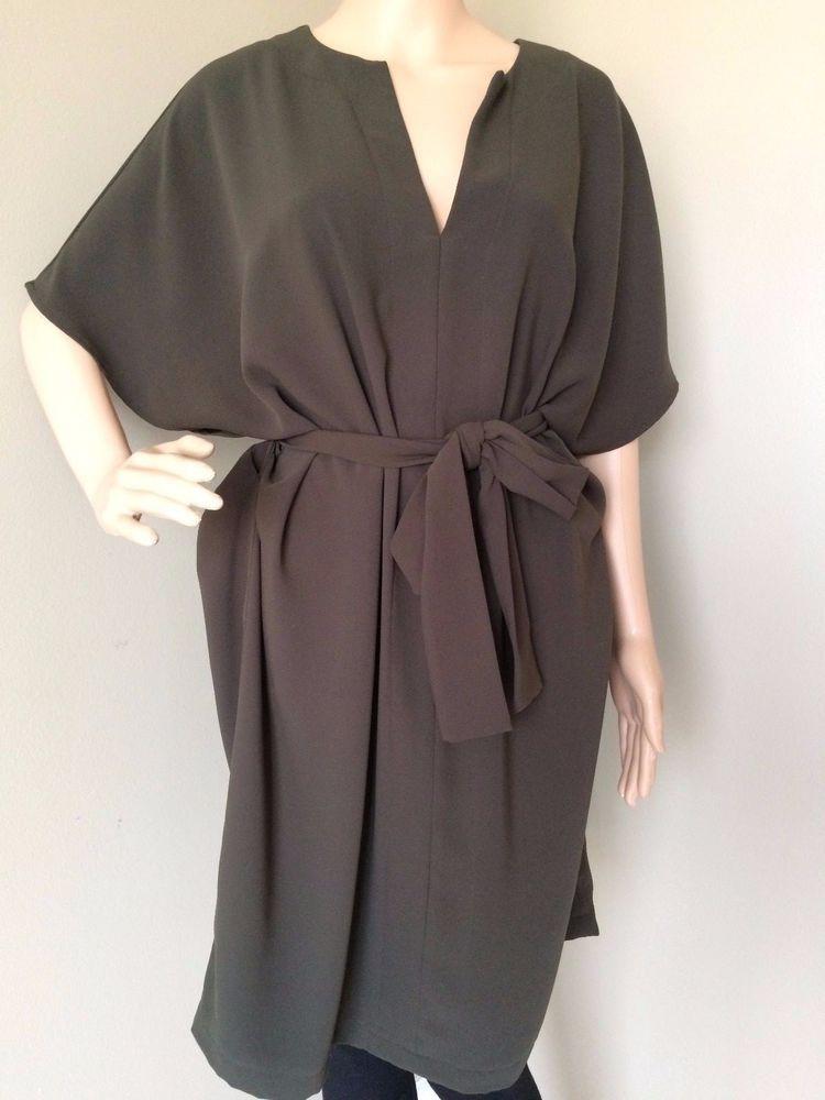 FOREVER 21 Belted Knee Length Shirt Dress - Olive Career Tunic - V-Neck -  Size L  FOREVER21  ShirtDressTunicDress  Work 9f51ffc24