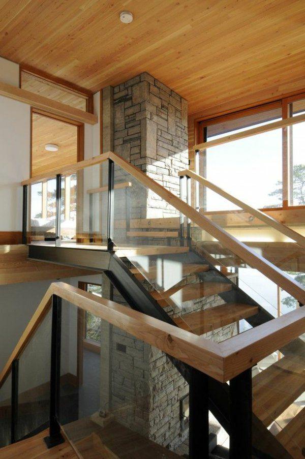 moderne treppengestaltung wohnideen stein sule - Wohnideen Stein