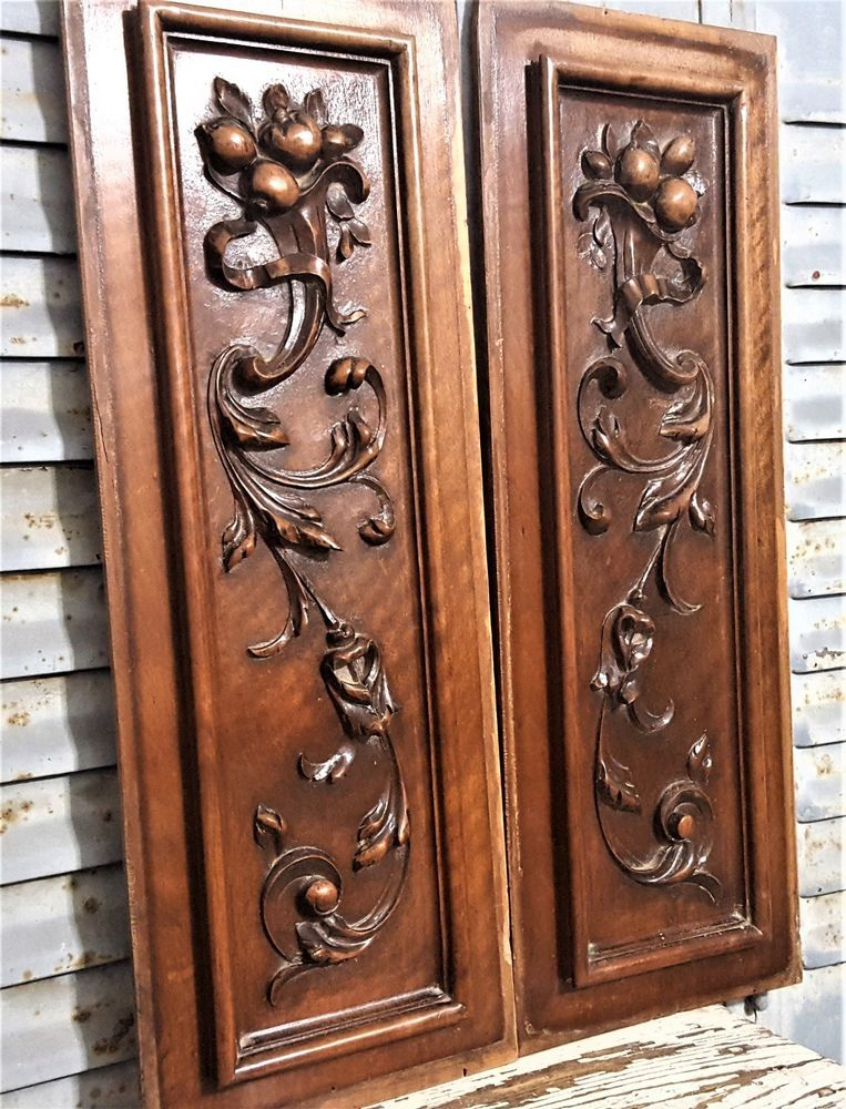 Pair Carved Wood Panel 23 Antique French Gothic Carving Architectural Salvage France French Antiques Architectural Salvage Gothic Architecture