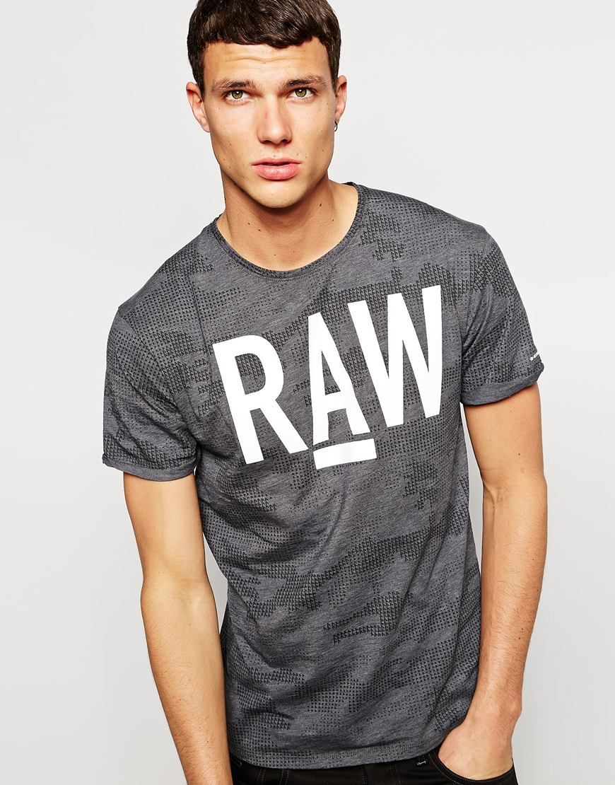 G Star T Shirt Allover Digi Camo Raw Logo Print