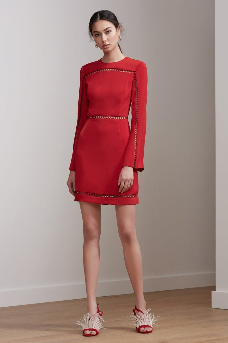 Indulge long sleeve mini dress red couture pinterest long