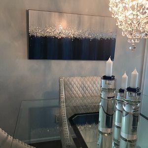 Photo of Glitter Large Abstract Painting Original Texture Modern Sky Light Blue Silver Glitz Foil Metal Glitter White Z Gallerie Painting Je Hlobik