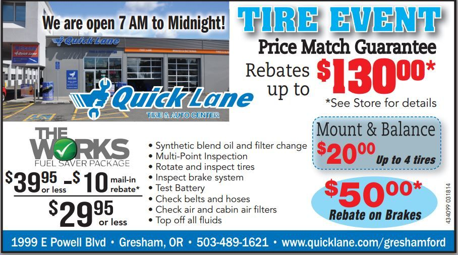 The Quick Lane Inside Gresham Ford Is Having A Tire Event Act Now