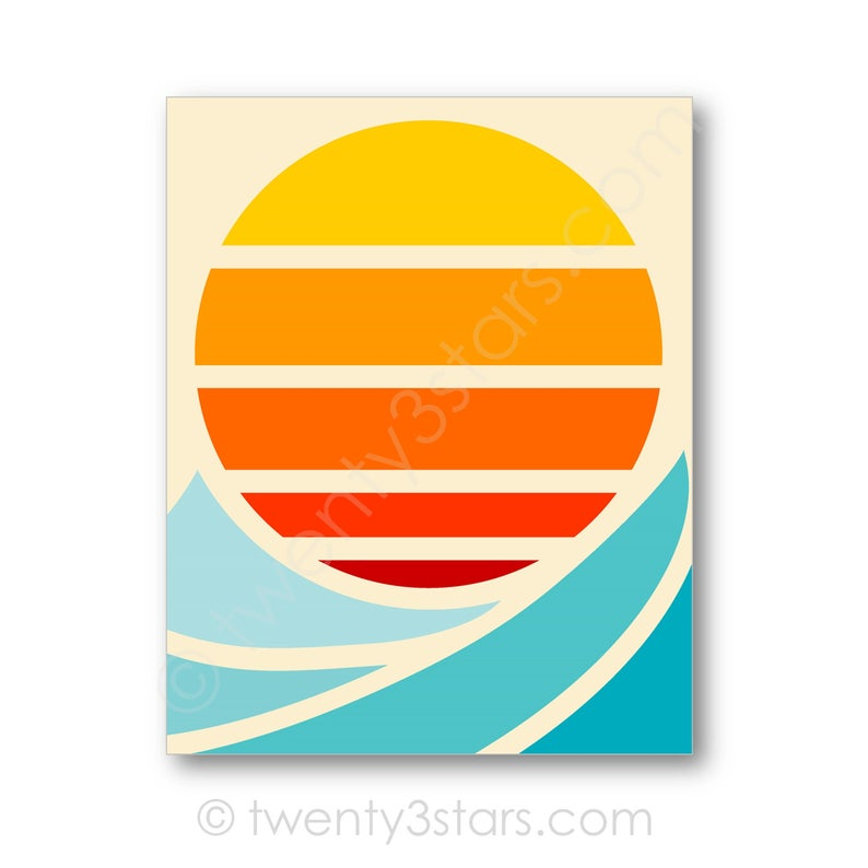 "This modern sun and surf wave art print would look great in any room! Could be a sun or a moon over waves, mountains or desert. It really depends on the colors you choose. Would look great in a bathroom, apartment, nursery or dorm. ★ To Order ★ Select your preferred size from the pull-down menu on the right and add item to your cart. In the personalization box please provide: • Sun/Moon Color(s) (Choose up to 5 or gradient of a color) • Wave/Mountain Color(s) (Choose up to 4) • Background Color IMPORTANT: If you would like a proof sent before printing, please let me know here. Otherwise I will print the items as requested in your notes. Not sure what colors or size to choose? Let your recipient decide! Purchase a gift certificate to be directly emailed to whomever you choose: https://www.etsy.com/listing/398236731/gift-certificate-for-any-twenty3stars ★ Art Print Details ★ Unframed Prints will be professionally and freshly printed on Epson Ultra Premium heavyweight matte paper using Epson K3 Ultra Chrome Pigment Ink that is archival quality and will last under glass for over 200 years. The 8x10"" and 16x20"" sizes include a small white border for easy framing. Canvases are available on my website at www.twenty3stars.com Please keep in mind that computer monitors display color differently than on paper and therefore the color you see on your screen may be slightly different than the actual printed color. Thanks for understanding! Thanks for visiting! All artwork and designs © twenty3stars Enter my shop here: www.twenty3stars.com Handmade with ❤"