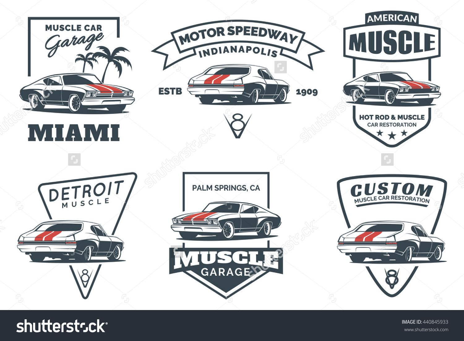 Set Of Classic Muscle Car Logo Emblems Badges And Icons Isolated