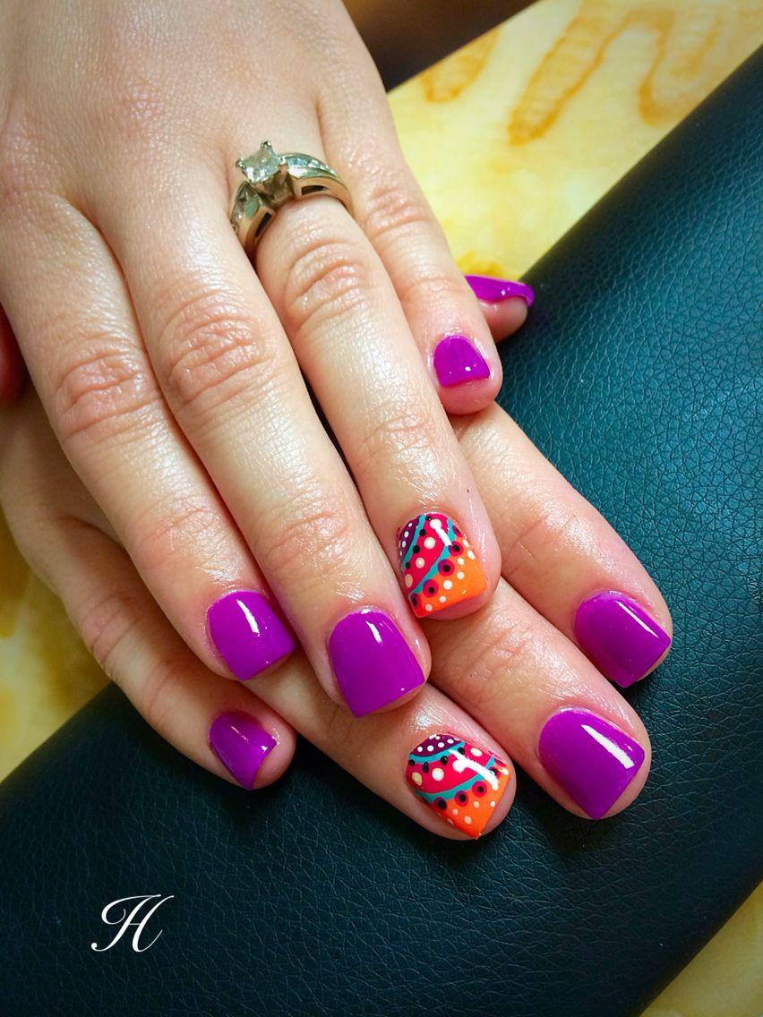 Fun Summer Nails Nails by Haley Harris Acrylic nails, purple, orange ...