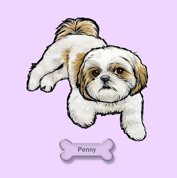Digital Custom Dog Portrait Custom Pet By Thestarduststudio Shih
