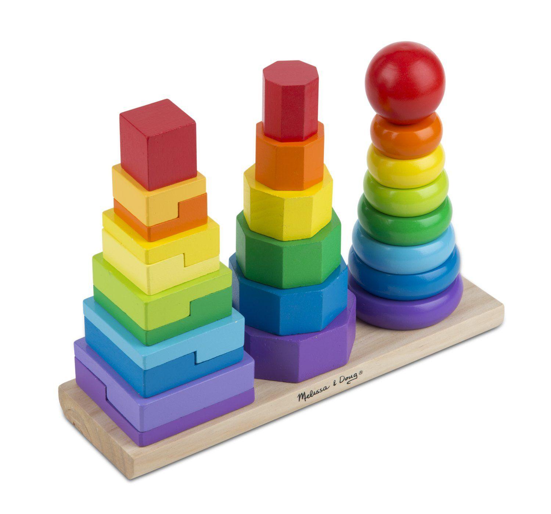 Amazon Com Melissa Doug Geometric Stacker Toys Games