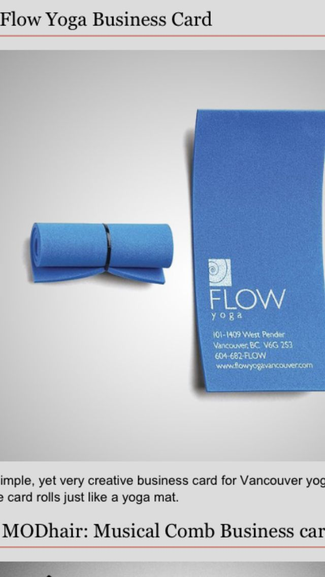 Mini yoga mat business cards .. Love the out of the box thinking ...