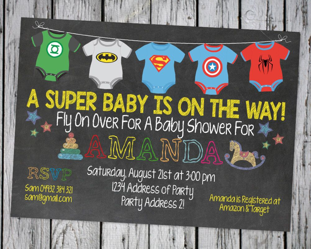 SUPERHERO BABY SHOWER Invitation, Superhero Invite, Super Baby Hero ...
