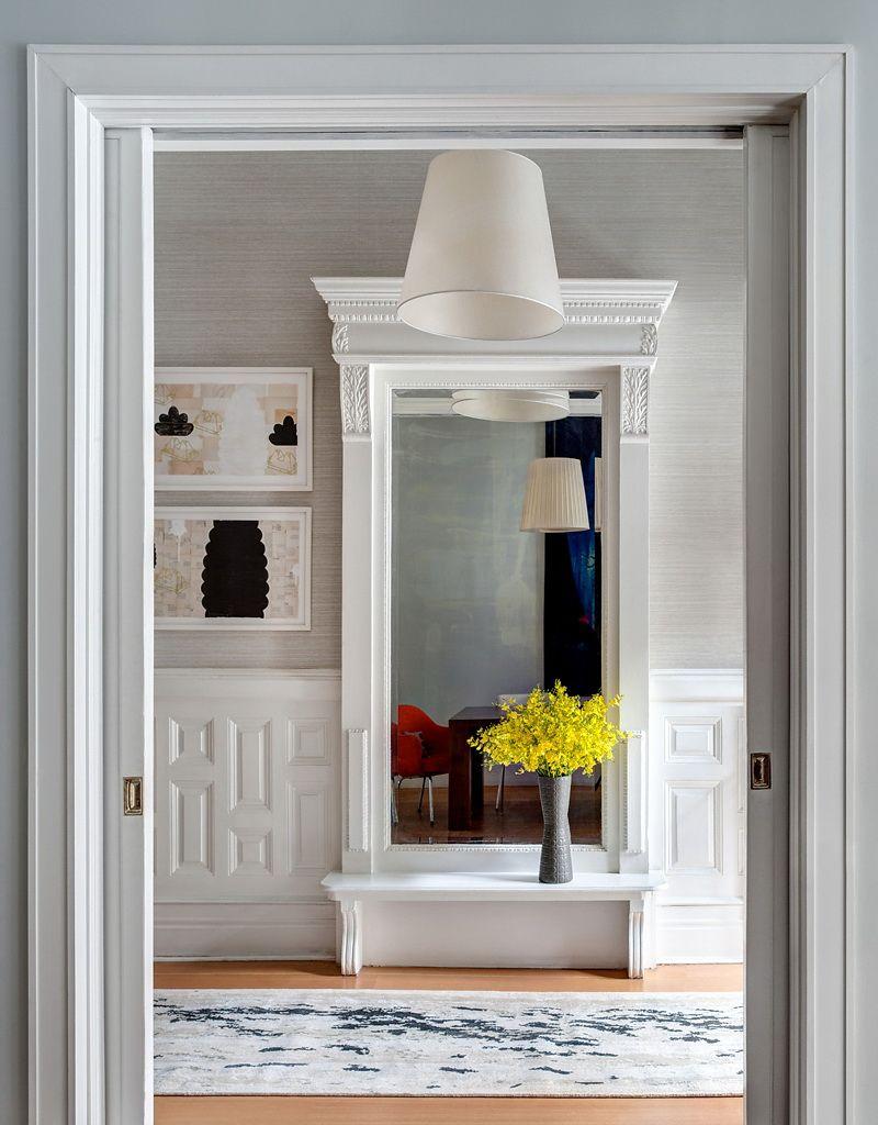 Traditional hallway wallpaper  grasscloth walls interiordesign  Inspirational Interiors