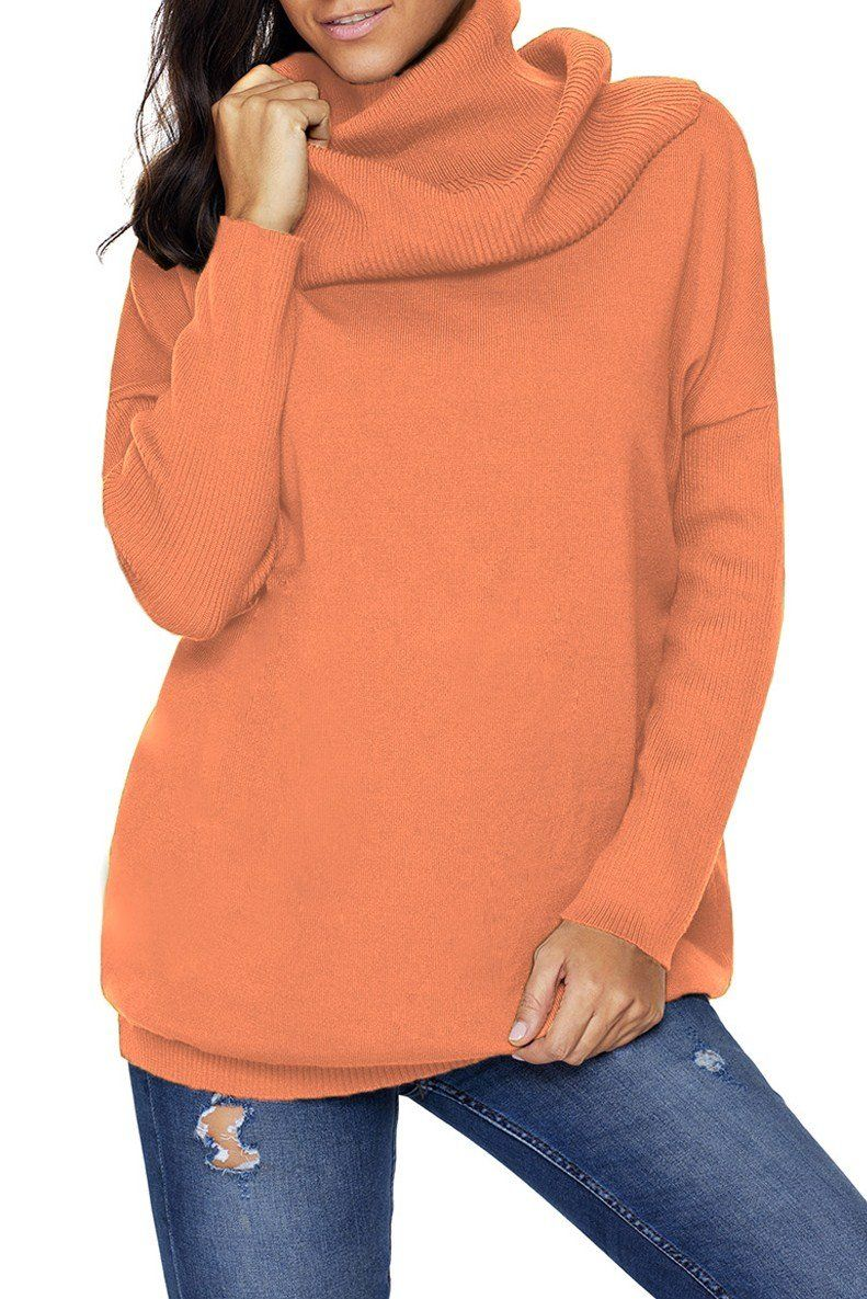 Fashion Orange Cozy Cowl Neck Long Sleeve Sweater modeshe.com ...