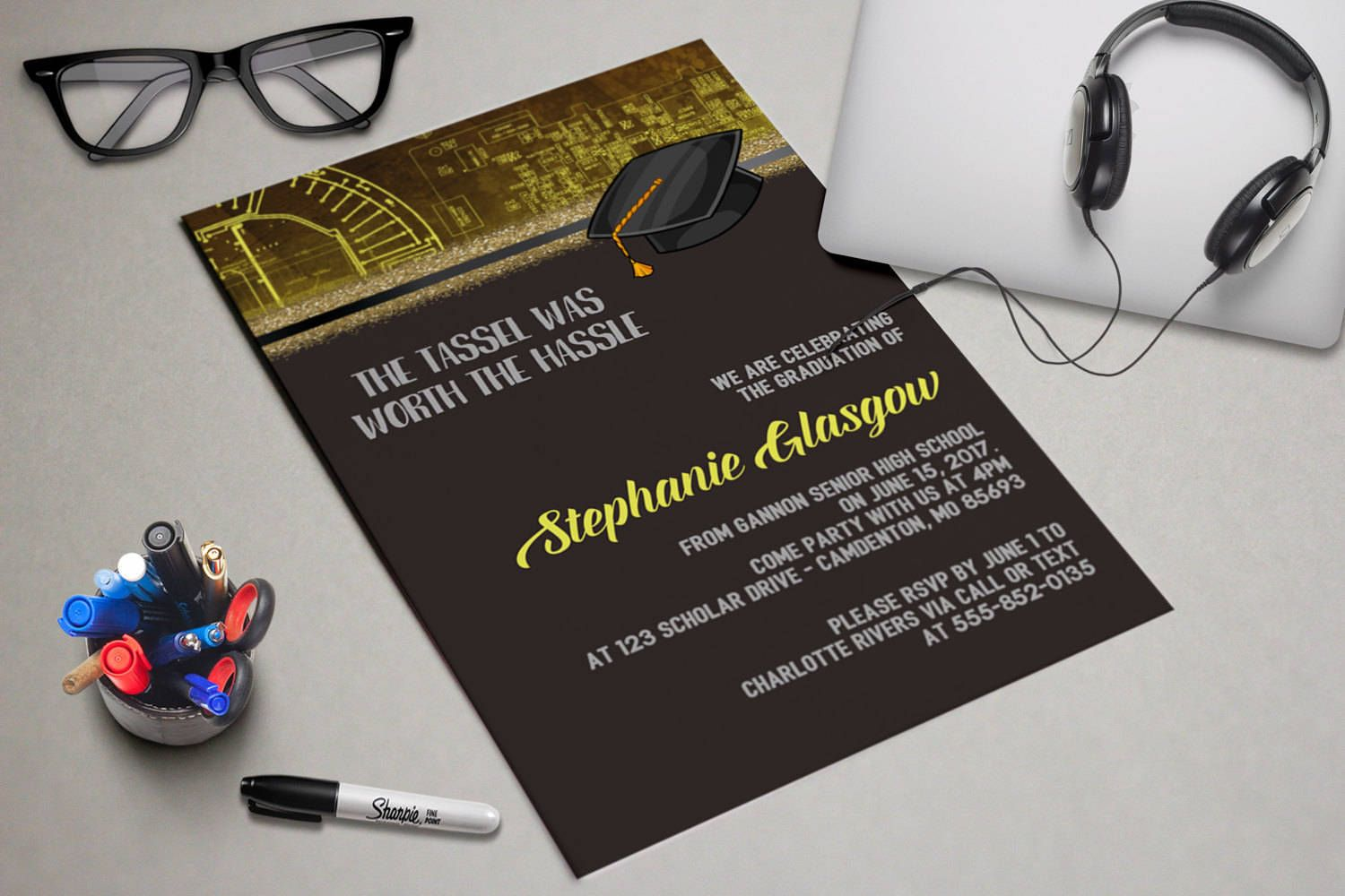 Motherboard Beautiful Printable Graduation Party Invitation ...