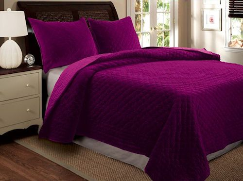 Luxury Bedspread Purple Green Or Yellow Velvet Bedding