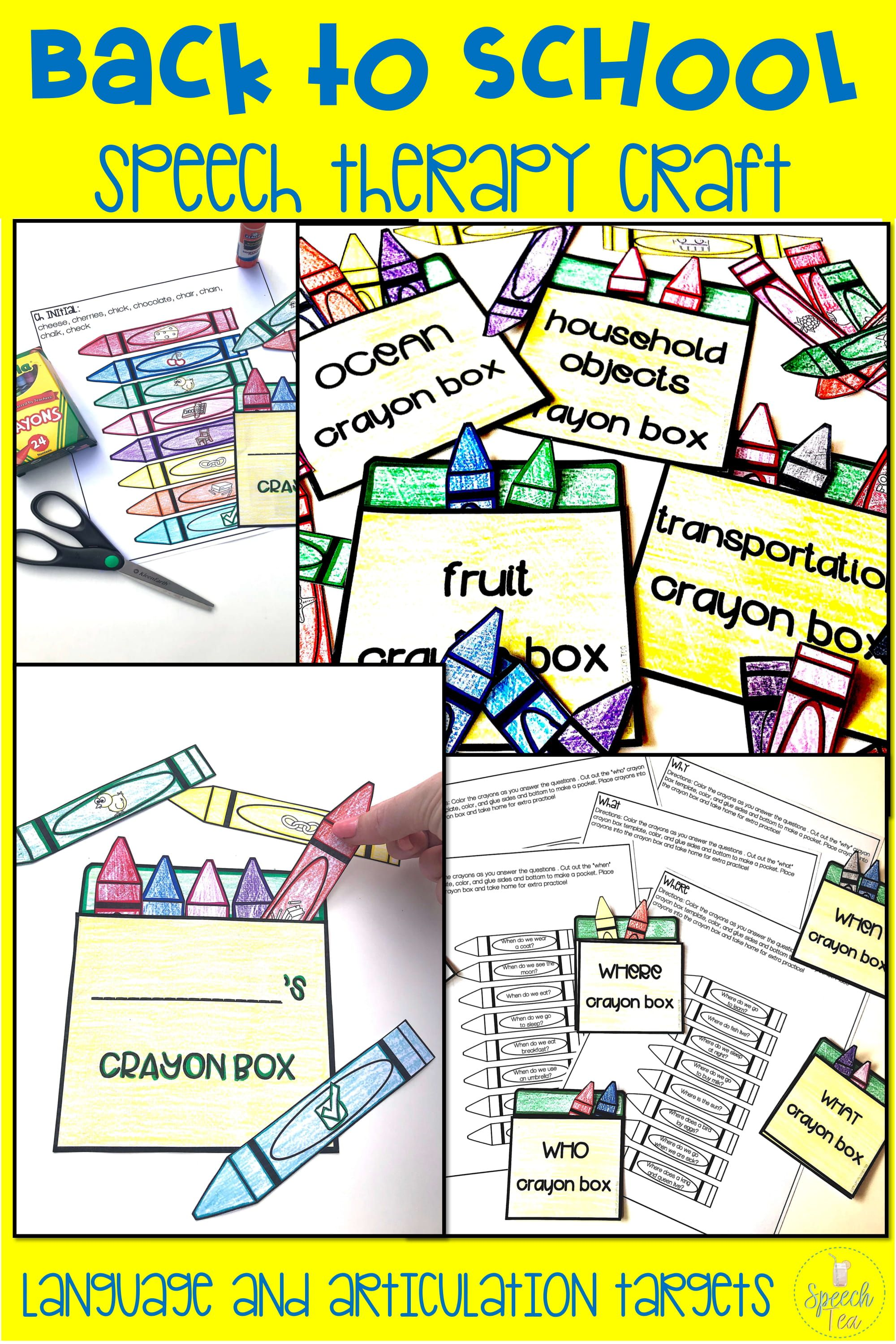 Back To School Speech Therapy Craft Bundle