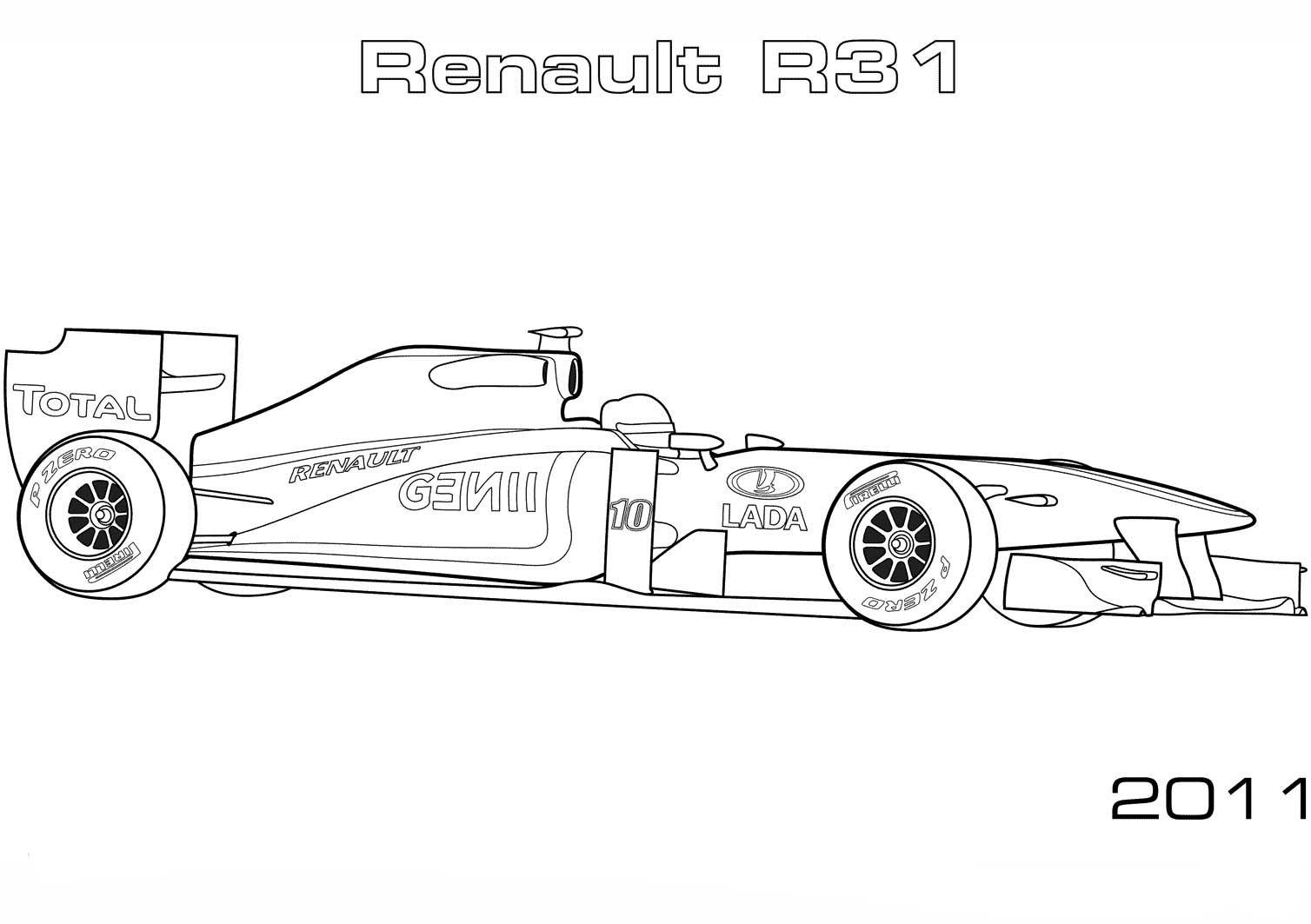 Renault R31 Formula 1 Car Coloring Page Cars Coloring Pages Coloring Pages Sports Coloring Pages
