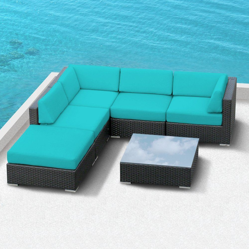 Amazon : Luxxella Outdoor Patio Wicker Beruni Turquoise Sofa Sectional  Furniture 6pc All Weather