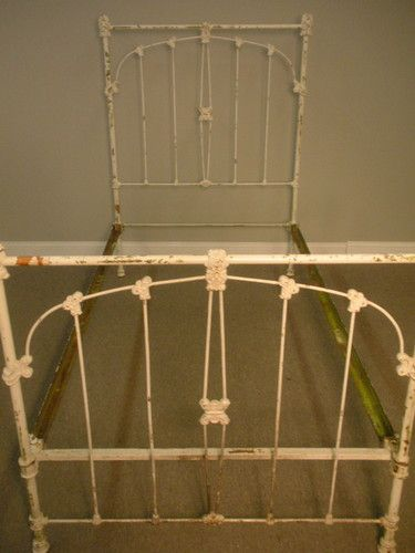 Antique Off White Cast Iron Shabby Chic Twin Bed Frame