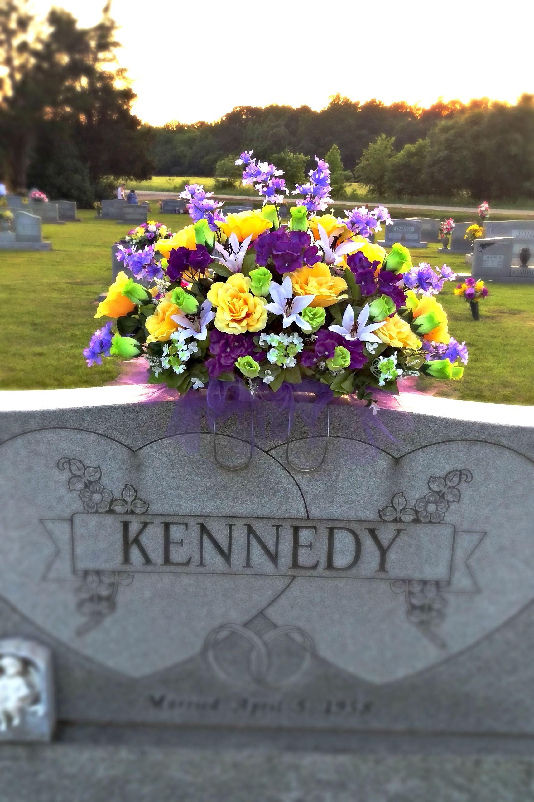 Spring Summer Cemetery Saddle Arrangement Headstone Flower Arraignment Pinterest