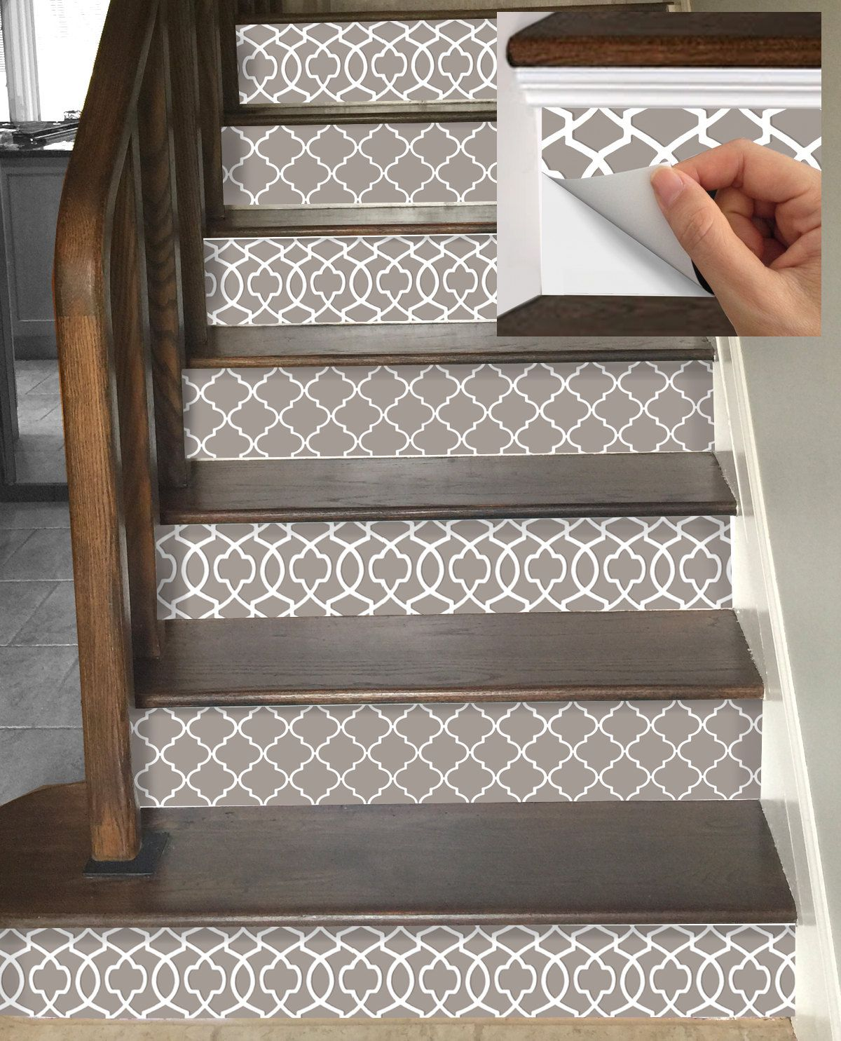 58 Cool Ideas For Decorating Stair Risers: Removable. Gray And White. Love This