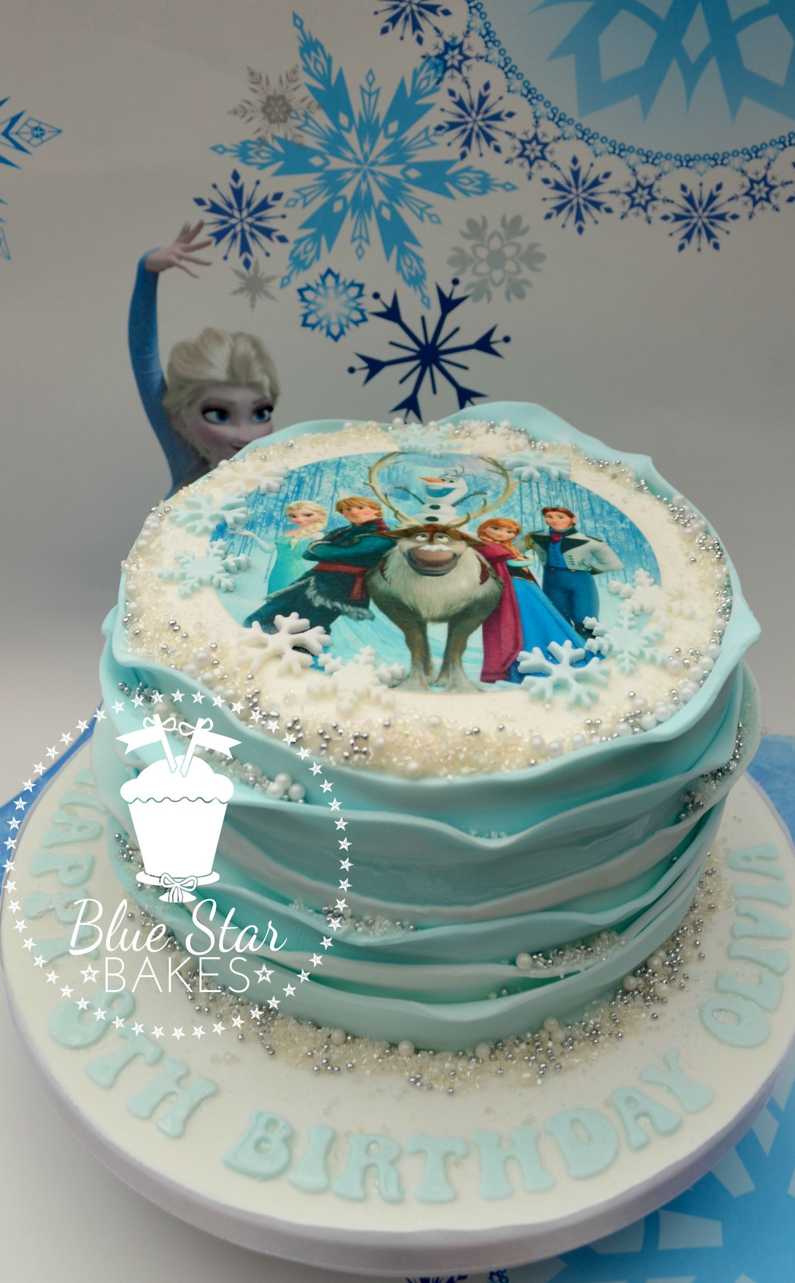 Frozen Themed Ruffle Birthday Cake Single Tier With Snowflakes Pearls Shimmer Sparkle From Www Bluesta Frozen Birthday Cake Single Tier Cake Character Cakes