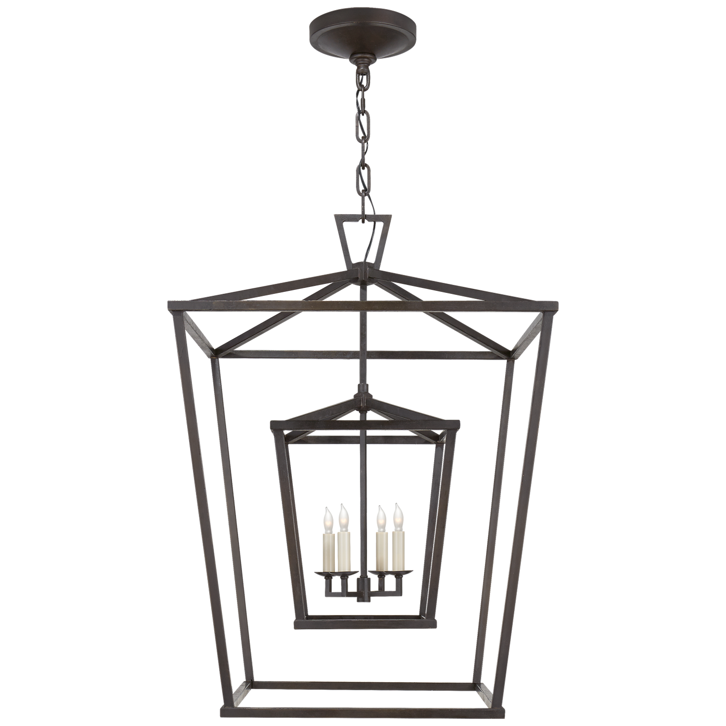 Large Double Cage Lantern In Aged Iron Contemporary Industrial Chandeliers Dering Hall In 2020 Lantern Ceiling Lights Outdoor Hanging Lanterns Pendant Light