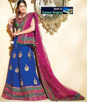 Blue Color Faux Crepe Flared Lehenga Choli DLSA705. Sale : $187.00