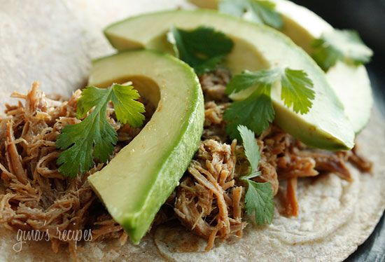Mexican Slow Cooked Pork Carnitas #dinner #lowcarb #avocado #crockpot #weightwatchers 4 points+