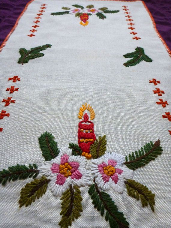 Vintage Christmas Table Runner Table Cloth With Embroidery Hand Embroidered Tablecloth Handma Christmas Crochet Blanket Christmas Table Runner Handmade Candles