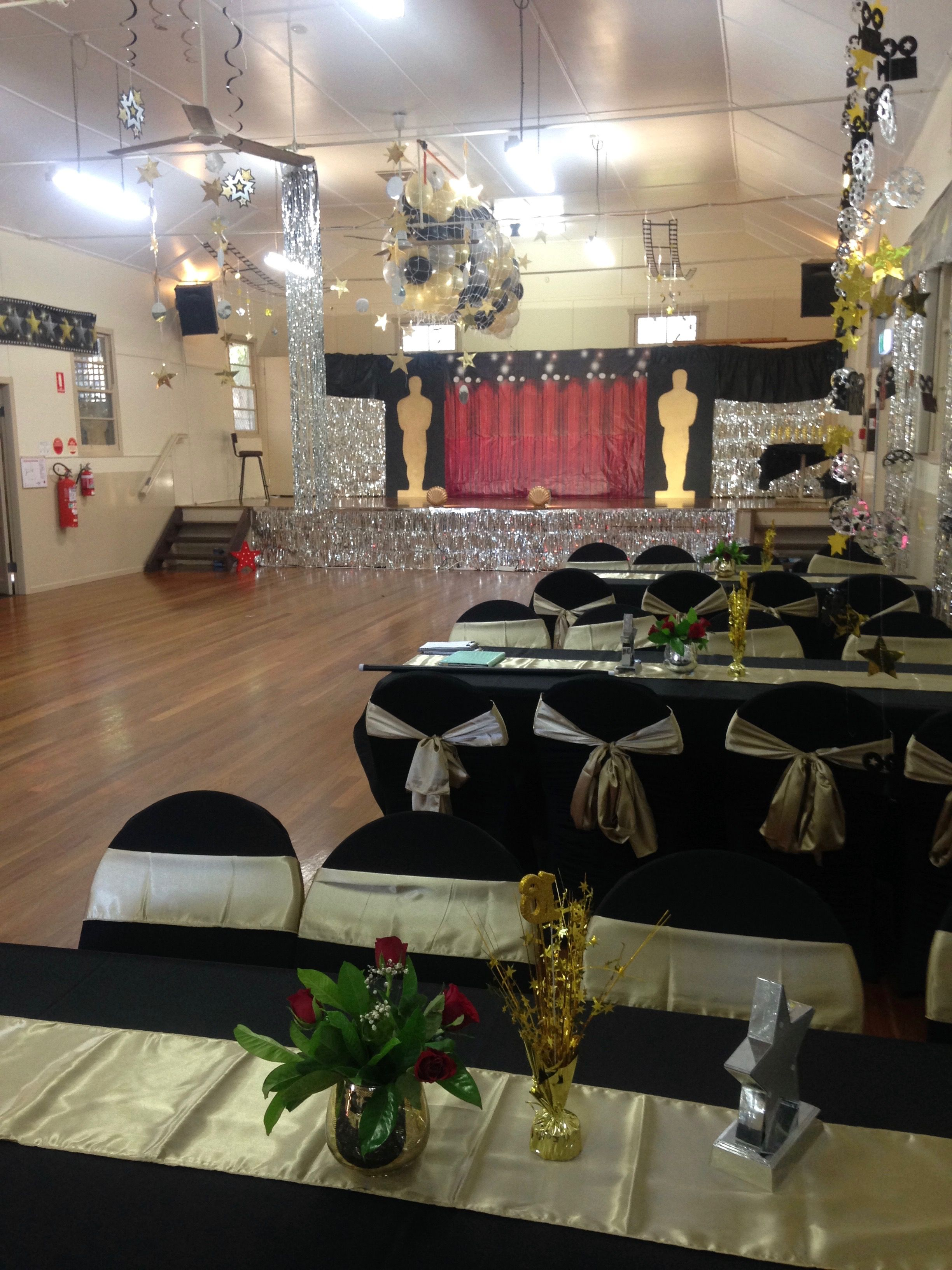 Glam Hollywood birthday party Hired hall set up with Balloon drop