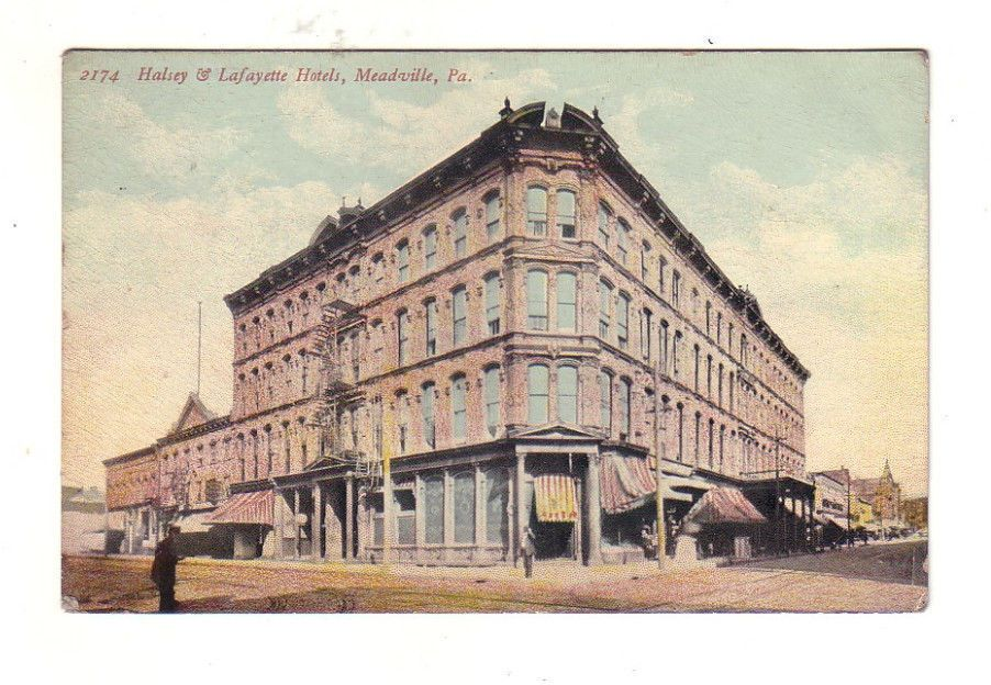 Meadville Pa Halsey And Lafayette Hotels Standard Postcard 974