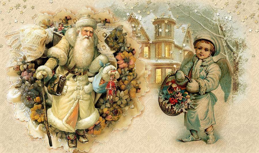 Ретро картинка новый год. Дедушка и ангел (с изображениями ...
