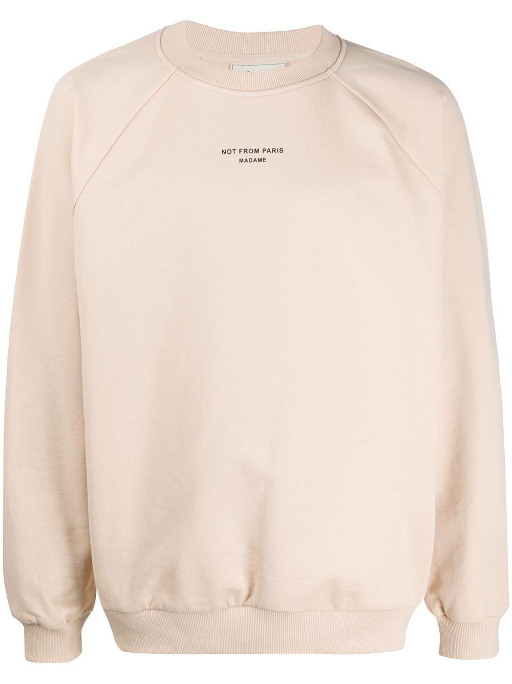 Drole De Monsieur Graphic Print Crew Neck Sweatshirt Farfetch Crew Neck Sweatshirt Sweatshirts Beige Sweatshirt [ 1334 x 1000 Pixel ]