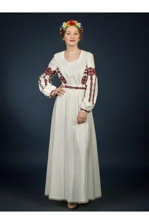 Розкішна довга сукня з вишивкою хрестиком. Червоний геометричний орнамент  на талії та рукавах 7ed3b8428a3e1