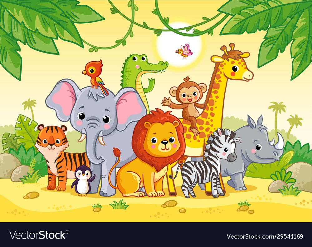African Landscape With Cute African Animals Large Set Of Animals Vector Illustration With Cute Mamma Animal Clipart Free Baby Animal Drawings African Animals