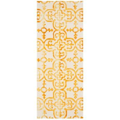 Safavieh Dip Dye Ivory Gold 2 Ft X 12 Ft Runner Rug Colorful Rugs Area Rugs Rug Runner